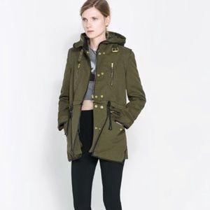 Zara Woman Military Parka Coat sz M Jacket Green